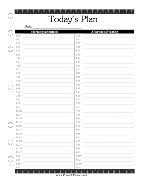 Mesmerizing image in free printable daily planner 15 minute intervals